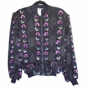 Vintage Silk Embellished Sequin Blk Bomber Jacket